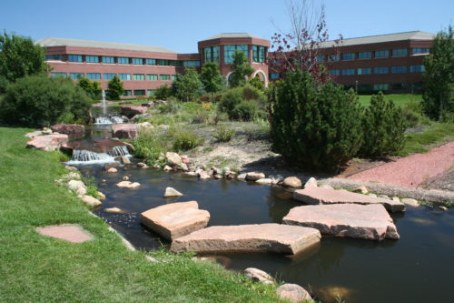 Flagstone rocks and water feature at Cook Publishing